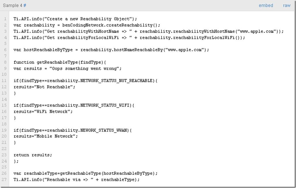 Reachability Code Sample